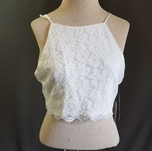 Lulus crop top white lace lined xl nwt